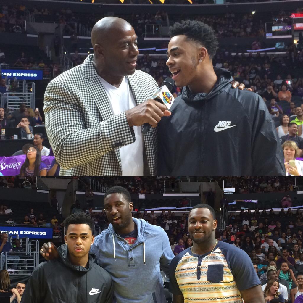 .@Lakers are in the house! @MagicJohnson w/ @Dloading @Hoya2aPacer & @TarikBlack25! #WeAreLA #GoSparks http://t.co/1BQJ5YPlhe