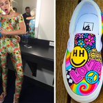 """""""We Cant Stop"""" obsessing over @MileyCyrus custom Vans by @sneakersbyjordi backstage at the #VMAs! http://t.co/usfJ1CV11Q"""