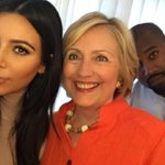 heres a pic of the future President of the United States with Kim K and Hillary Clinton. http://t.co/qhnIJhHUT8