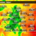Still a warm day, but quite a bit cooler than the weekend! Watch for showers and storms as early as noon. #9wx http://t.co/TftXD9zKSh
