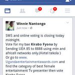 Online and SMS voting closes today.SMS UEA 85 to 8888 to vote for @kirabofyona in Uganda entertainment awards. http://t.co/EH8KmYyk9h