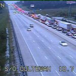 #NoogaTraffic 1 fatality in I 75 south 3 vehicle pileup, 2 tractor trailers. Traffic blocked at VW Dr. @ChattanoogaPD http://t.co/aP9L6cnUXk