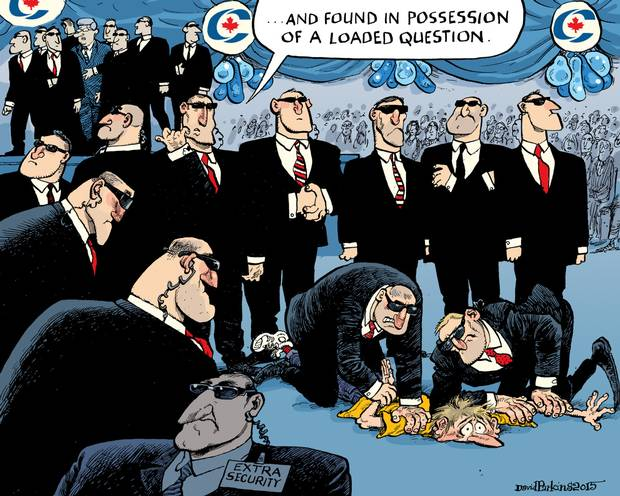Found in possession of a loaded question: Parkins 'toon on vetting and security at Tory rallies #cdnpoli http://t.co/cvYn5FQ8yB