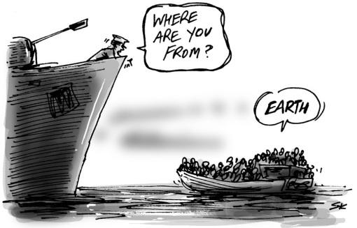 This cartoon from 2014 sums up the world's refugee crises: http://t.co/yfaz35e8AG thanks, @simon_kneebone! http://t.co/rZ3YENaorz