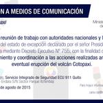 Se invita a medios de comunicación a cubrir la reunión de trabajo con autoridades nacionales, locales #VolcánCotopaxi http://t.co/xfT5airtou