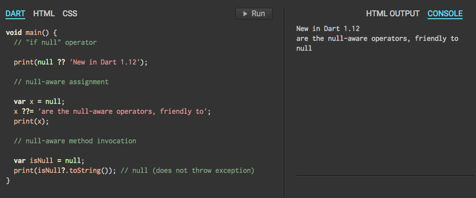#dartlang 1.12 released! Null-aware operators and lots more. http://t.co/wQHOvtVqNJ http://t.co/QY14DDpBRY