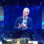 Tim Cook, Apple CEO on stage with Cisco President, John Chambers, at Cisco GSX conference http://t.co/pjna3AyuK8