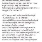 08.05 Mulai 1 September 2015 buruh yang berhenti kerja bisa langsung mencairkan uang Jamsostek/BPJS Ketenagakerjaan. http://t.co/iU4nS2cd3v