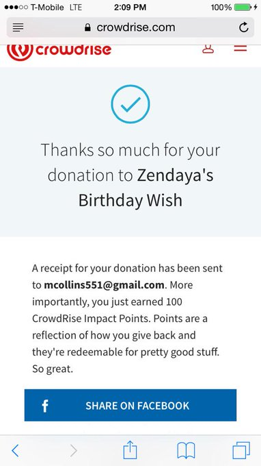 Got my donation happy birthday boo