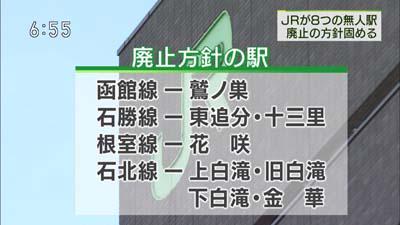 小幌駅は豊浦町との協議継続で、今秋の廃止はなくなった模様・・。鷲ノ巣、東追分、花咲は、報道では初出かな。 http://t.co/M9wHyu9t4L