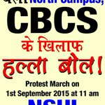 Thousands of students will gather today demanding immediate rollback of anti-student CBCS. #NSUIagainstCBCS http://t.co/KOauqFvrvv
