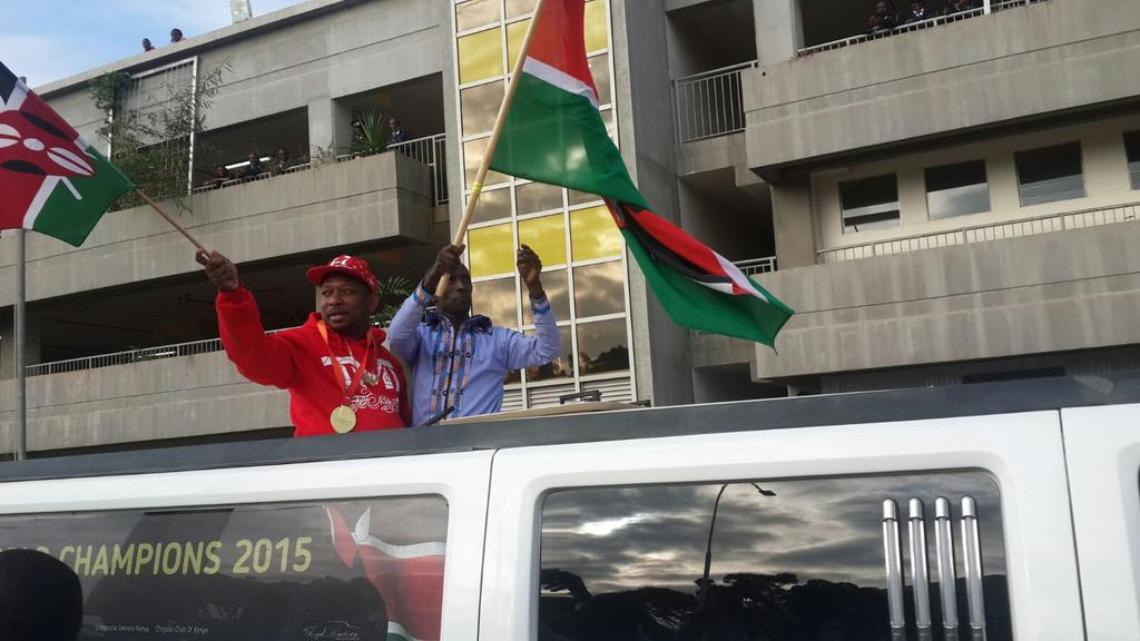 Gold Medalist Sonko waves at the jubilant crowd. He's seen here with Senator Kemboi. http://t.co/ogoVbt4fCD