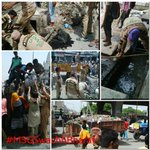 Here,these Volunteers r nt ashamed of picking trash&garbage,rather feel proud in contributing 2wards #MSGSwachhBharat http://t.co/CRlk1hpnZg