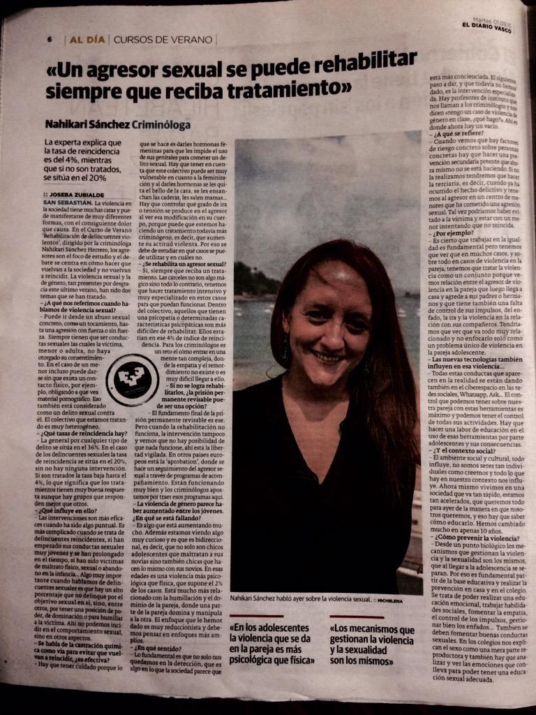 """Hoy, en @diariovasco """"Un agresor sexual se puede rehabilitar siempre que reciba tratamiento"""" #YoSoyCriminologo http://t.co/MrzVffC0bq"""