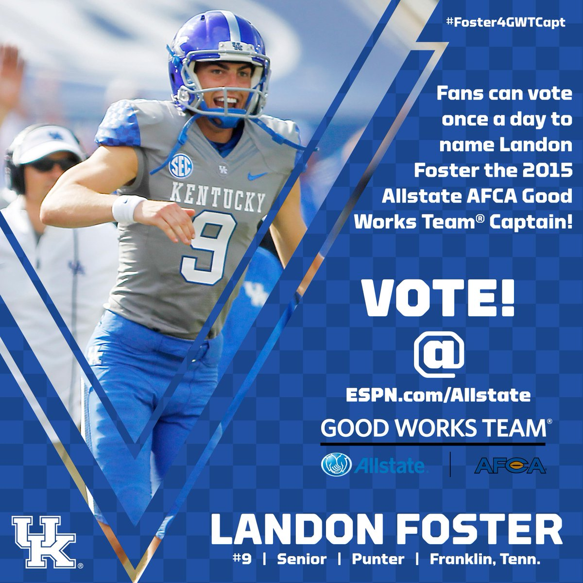 Vote For Landon Foster To Be Captain Of The Allstate Afca Good Works