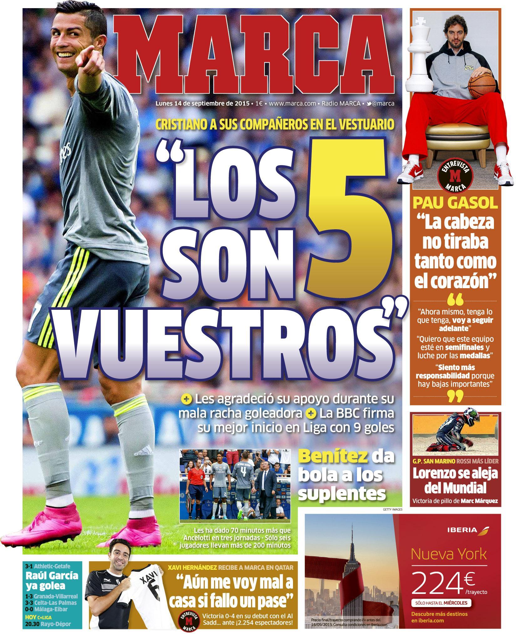 """""""Los 5 son vuestros"""" #LaPortada http://t.co/wAuWNbZRKo"""