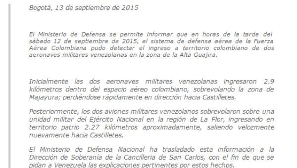 NTN24 Colombia (@NTN24co): #EnDesarrollo Comunicado del @mindefensa tras sobrevuelo de aviones de Vzla en Colombia http://t.co/xKePH4T5w3 http://t.co/PoOjtmTjvT
