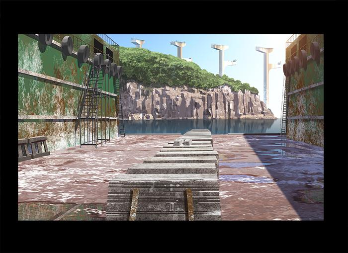 試しに造船所の奥に並べてみたら何か心にぴったりくる物があって、篠原監督に「橋脚並べたいんですけど」って言ったのが最初でし