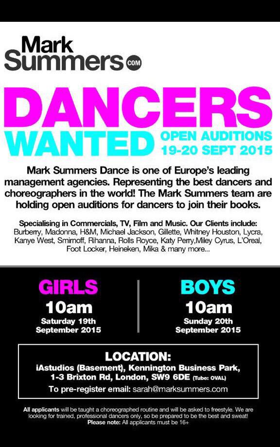 We're holding open #dance #auditions to join @marksummerscast #agency on 19th/20th Sept at @iAstudioslondon please RT http://t.co/wVeVz6LWLp