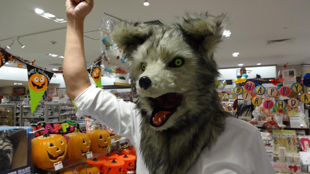 ハロウィンにもってこい!喋るとアゴが動くムービングアニマルマスク(狼)。頭からすっぽり被り自分の顎をマスクの顎に固定することで、自然なトークが可能に!その他虎と犬もあり。※モデルはうちの店員です(10Fバラエティコーナー) http://t.co/lPuozG9l14