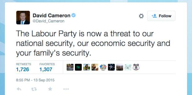 Just imagine UK media headlines if Russian President called a leading opposition party threat to national security? http://t.co/XmRNUhrTC8