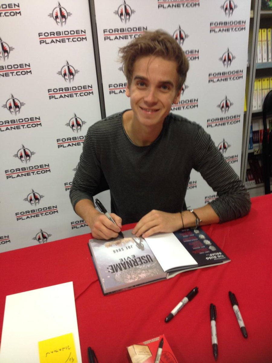 Signing #USERNAMEEVIE @ForbiddenPlanet this morning - @Joe_Sugg! Grab a signed copy here - http://t.co/2qY0bYzCnz http://t.co/FU6erjuKDb