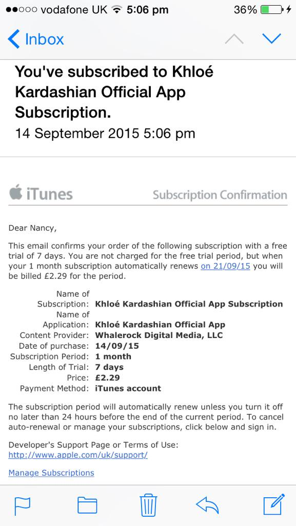 RT @NancyConlon: Just download and subscribed to @khloekardashian app ????????????????✌????️ http://t.co/IszZtXctGz
