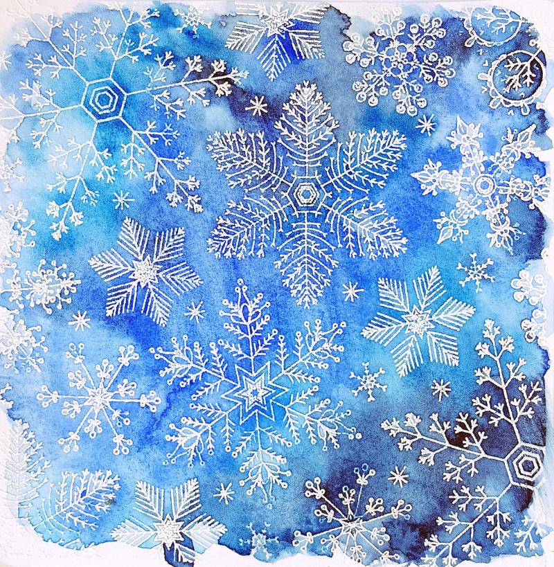 Look what happens when you combine white heat embossing and watercolors with our Hand Drawn Snowflakes background... http://t.co/B2zLuvz8wC