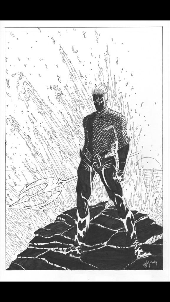 For the night crowd, I took my stab at drawing AQUAMAN. http://t.co/1pfYOvX4wd