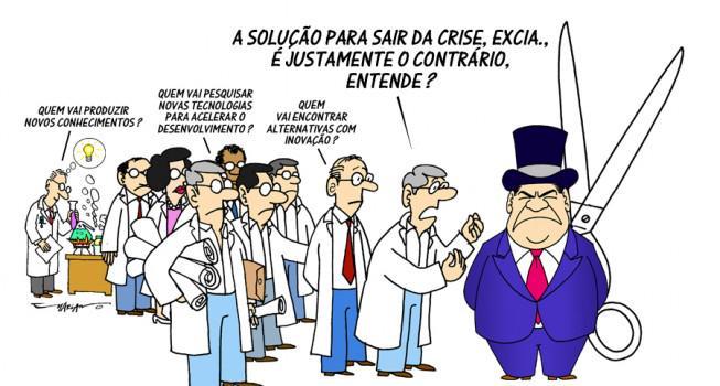 Charge de Mariano sobre os cortes de financiamento da ciência e crise nas universidades. #JornaldaCiência http://t.co/ESS5I57GRK