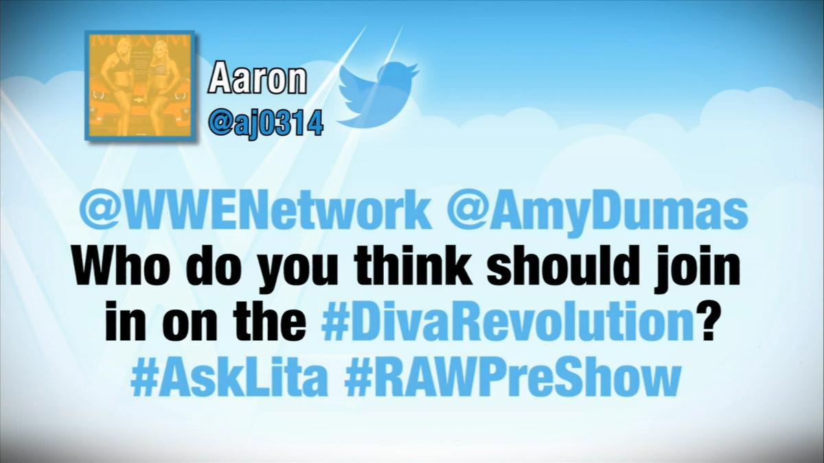 Cool. Well, @AmyDumas wants @itsBayleyWWE in the #DivaRevolution. Hugplexes for all. #WWE #RAWPreShow http://t.co/ut3NjZKvAq
