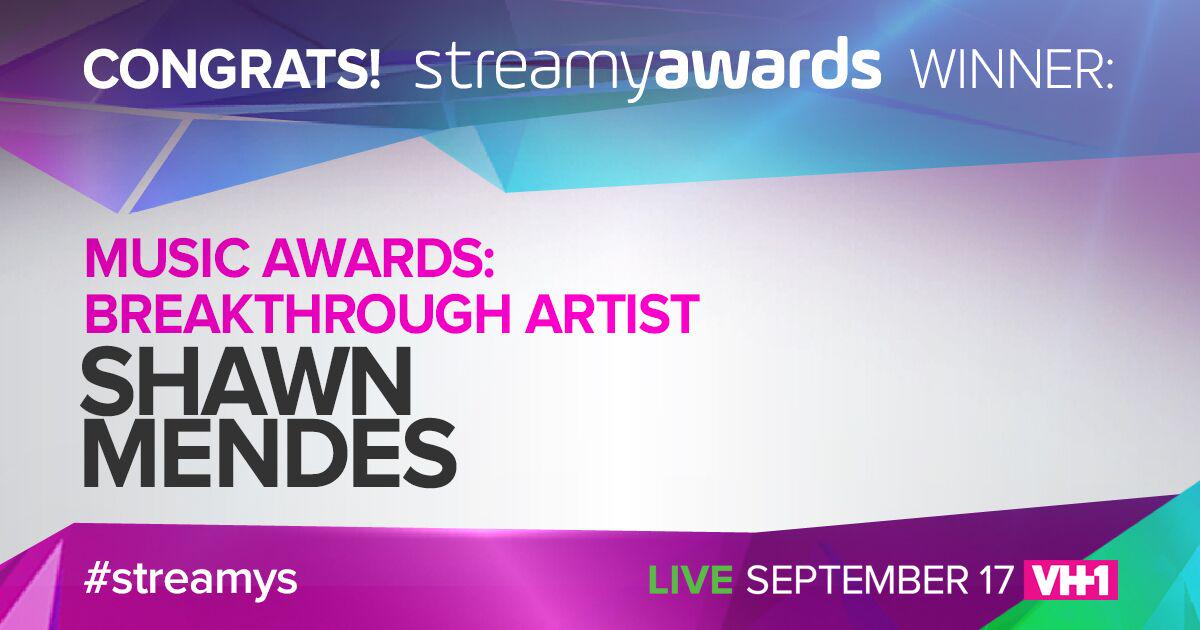 Congrats to the Life of the Party, #streamys BREAKTHROUGH ARTIST winner, @ShawnMendes!