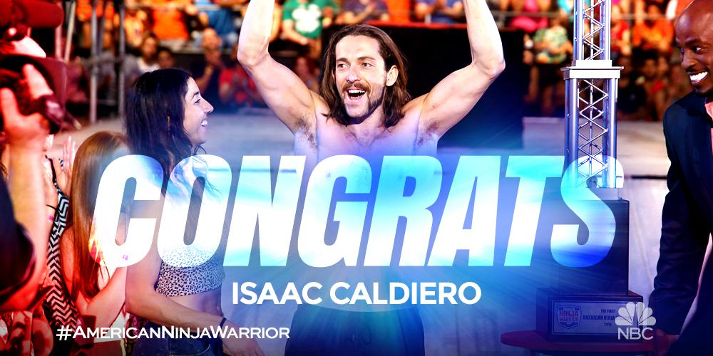 Thousands of dreams become one man's reality. @IsaacCaldiero, the FIRST American Ninja Warrior! #NinjaWarriorFinale http://t.co/8UnVnTthZH