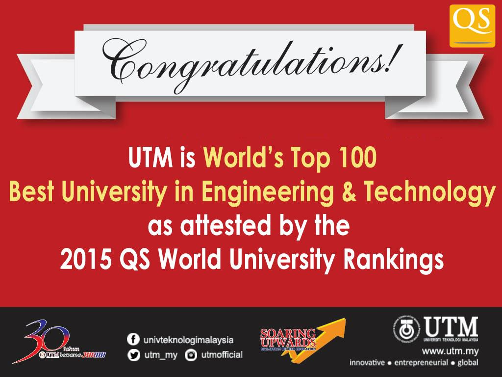 Congratulations UTM! World's Top 100 in Engineering & Technology! #QSRanking #Top100 #Engineering @soaringupwards http://t.co/6Y7JVLQkNY