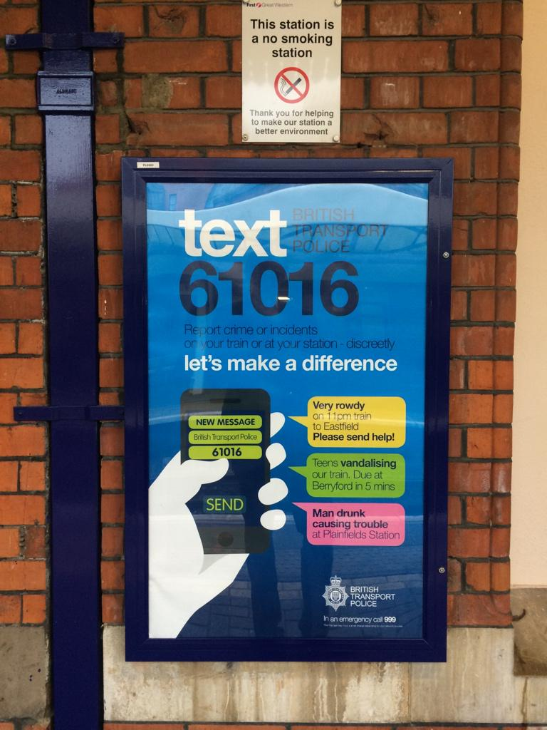 What a good idea by British Transport Police. Text 61016 to discreetly report vandals and troublemakers on the trains http://t.co/uc5EwCzQPu