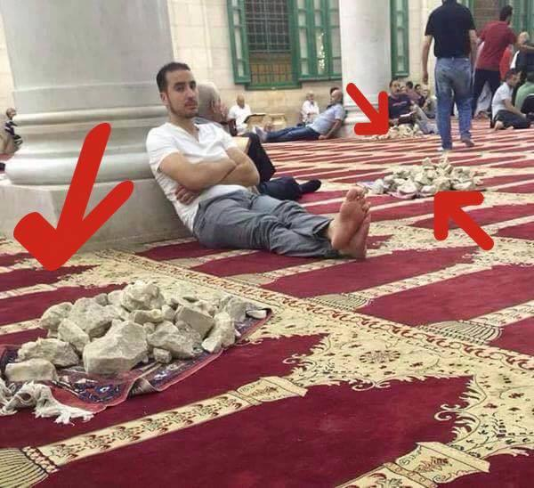 Members of religion of peace resting in a mosque on Temple Mount between hurling rocks at Jews on religious holiday. http://t.co/1wiIeTJUYz
