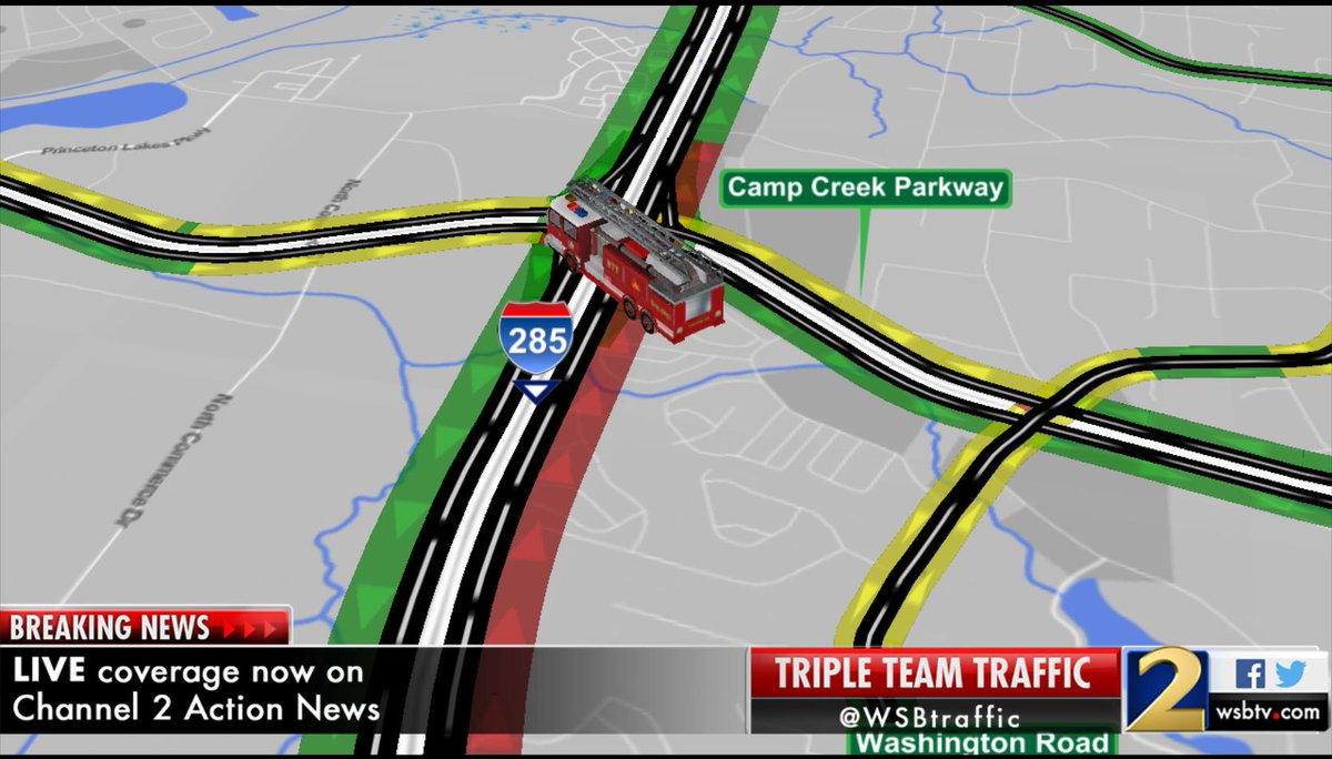 Traffic red alert: i 285/nb is shutdown at camp creek pkwy. (exit