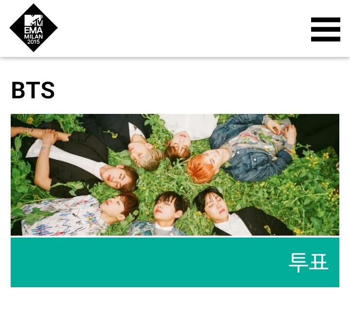 [VOTE!] VOTE BTS For #MTVEMA 2015 Click '투표' and share it to twitter http://t.co/voEejz01XF http://t.co/6nv9sMn99B