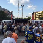 Several hundred fans at the St. Louis stadium rally in the shadow of the Dome #stlrams #rams #STLNFL http://t.co/5JhStEohUf
