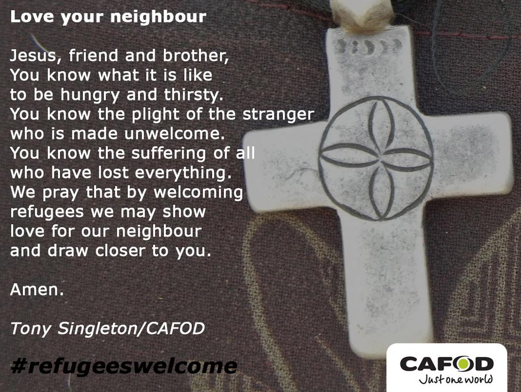 Please join us in praying for all the people who are fleeing their country. #refugeeswelcome http://t.co/1GhhEzqwZE