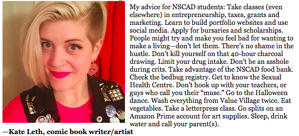 What advice does @kateleth have for NSCAD students? http://t.co/znig0J6aMY http://t.co/uzeb5SuV4D