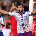 PHOTO: @GPelle19 celebrates giving Italy the lead against Malta. #saintsfc http://t.co/xDFfdmkJUm