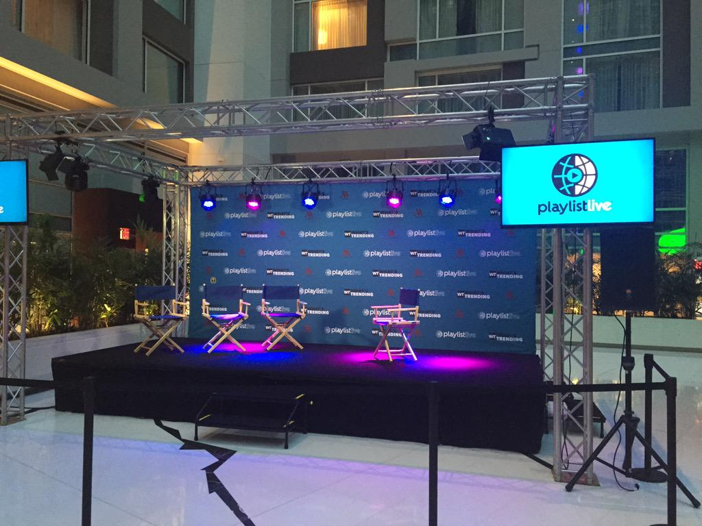 The @WhatsTrending Stage @PlaylistLive is all set up and ready to roll. @MHMarquisWDC http://t.co/BOK5kmAal9 http://t.co/9q3cbMAwDv