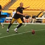 New kicker @JoshScobee10 warming up before his first #Steelers game. http://t.co/os8Gcc8rvw
