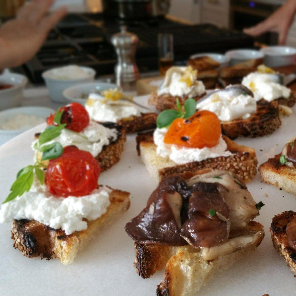 Bruschettas w/ roasted tomato - ricotta & micro basil -  mushrooms & stracciatella with anchovies & lemon zest. http://t.co/eV9QpJ32Bg