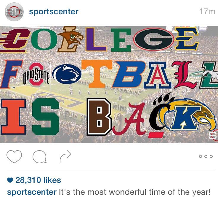 As sports fans, we're fired up college football is starting, too, but sorry @SportsCenter, we don't have a team! http://t.co/sUbaMck26n