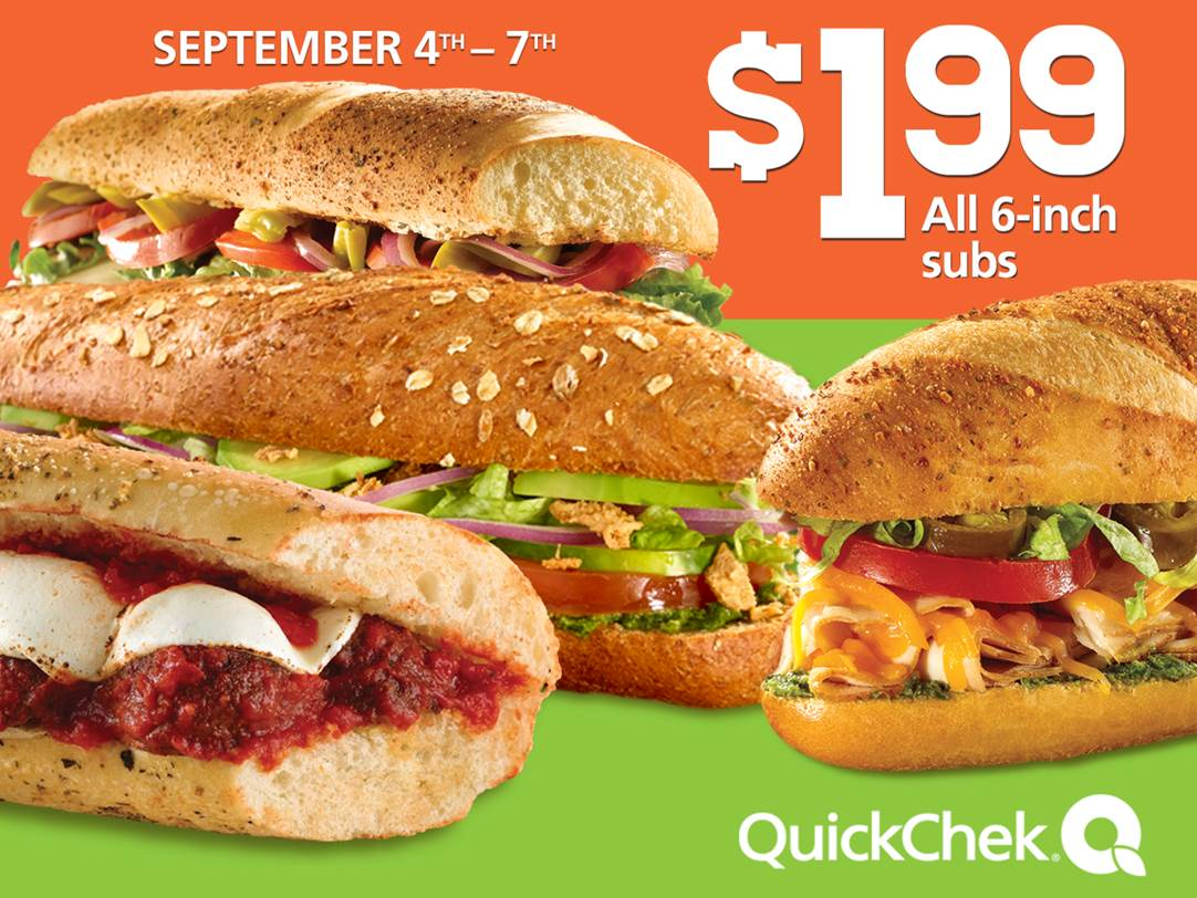 Friday thru labor day, $1.99 6-inch subs are back at @quickchek ...