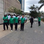 The team walks around the Hyatt Regency Hotel,Dar es Salaam,Tanzania this morning just to loosen up. http://t.co/CocWhliDvj