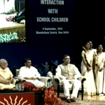 PM Shri @narendramodi and Smt. @smritiirani on stage on the eve of #TeachersDay. http://t.co/eIaAhZJnEr