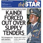 In Todays Star: Kaindi forced out over supply tenders; TSC threatens to sack teachers http://t.co/gRSSzE37Kz http://t.co/BSq4wHDkVO